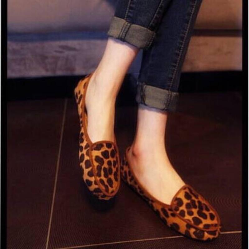 豹紋小單鞋平跟平底圓頭豆豆鞋 性感女鞋