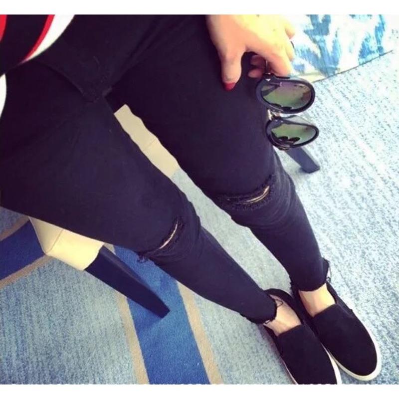 ۞芙芙遊樂園۞2016 春款 修身顯瘦破洞黑色牛仔褲女小腳褲彈力鉛筆褲長褲