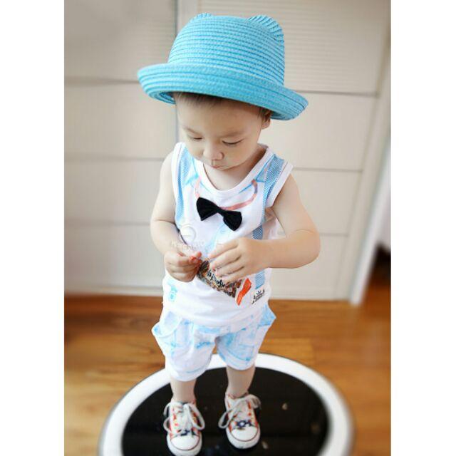 兒童套裝可愛紳士領結圓領背心短褲套裝帥氣假背帶兩件套裝