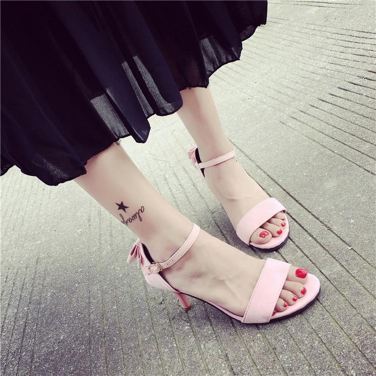 2016 一字扣帶羅馬涼鞋女中跟細跟蝴蝶結性感露趾百搭高跟