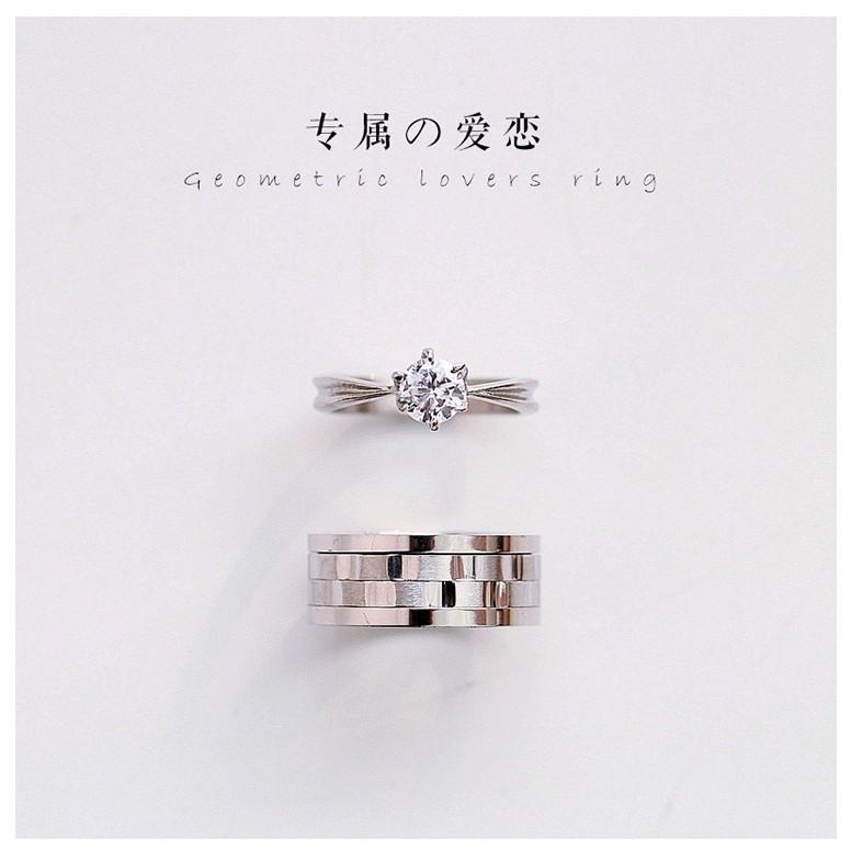 韓國鈦鋼寬版磨砂拉絲幾何鋯石情侶對戒
