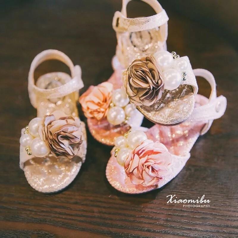 兒童花朵珍珠魚口涼鞋