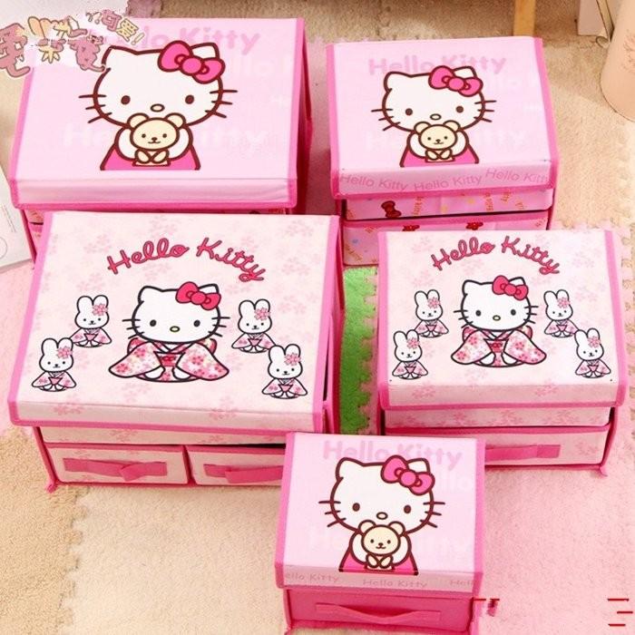 hello kitty 收納箱可愛卡通內褲襪子收納盒無紡布雜物箱
