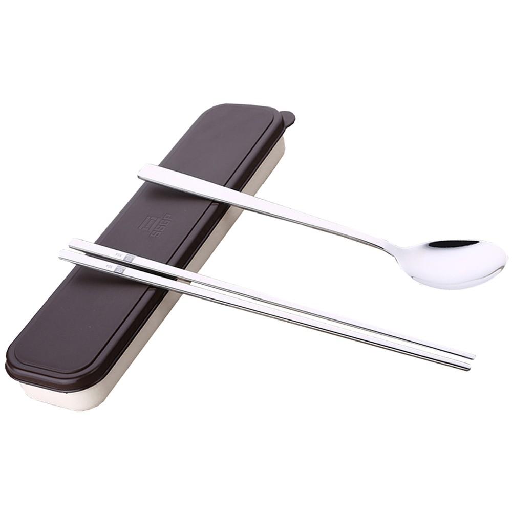 餐具用品304 不銹鋼實心扁筷子勺子便攜餐具盒旅行筷勺套裝韓式韓國長柄E60