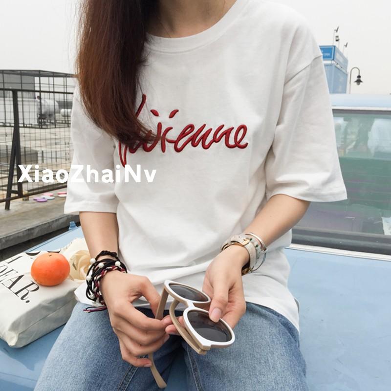 白色寬鬆t 恤女生短袖上衣字母純色圓領半截袖上衣刺繡體恤衫女生夏裝