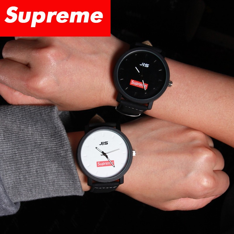 Supreme 街頭原宿風潮牌簡約 情侶黑白對表學生男女手表