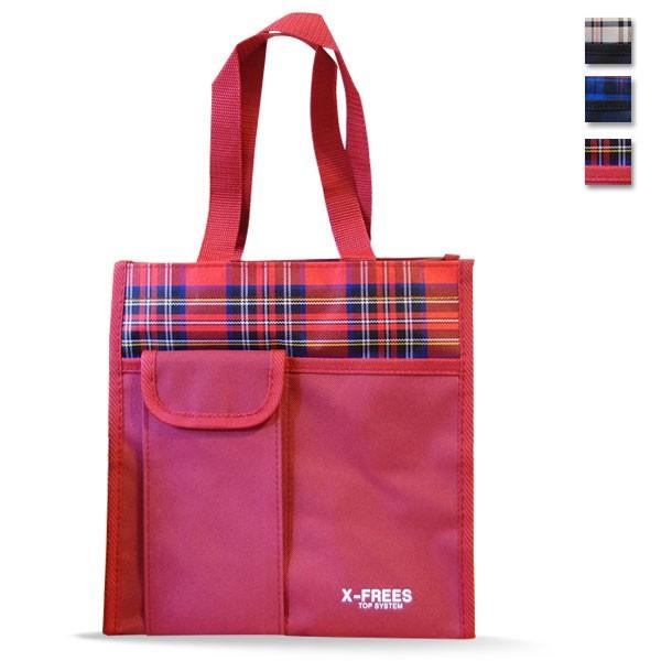 X FREES 大容量格紋便當袋 袋媽媽包手提袋手提包環保袋野餐露營萬用防水耐用堅固
