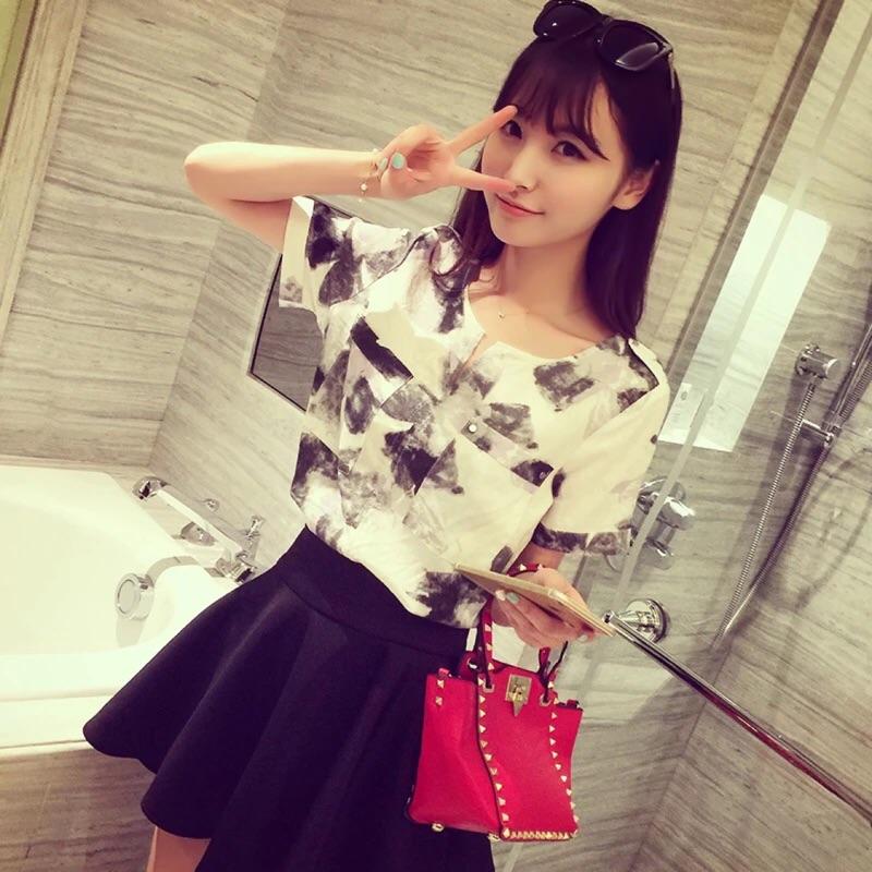 2016 夏裝 时尚水墨印花襯衫亞麻寬鬆短袖棉麻襯衫上衣女