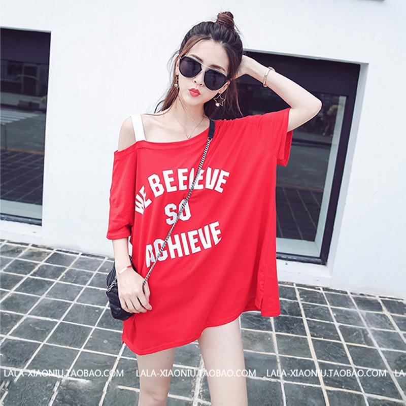 ✨ 不用等✨可愛小性感一字領單邊露肩假二件寬鬆短袖棉T 恤斜肩上衣~紅色~單一尺寸蜜朵