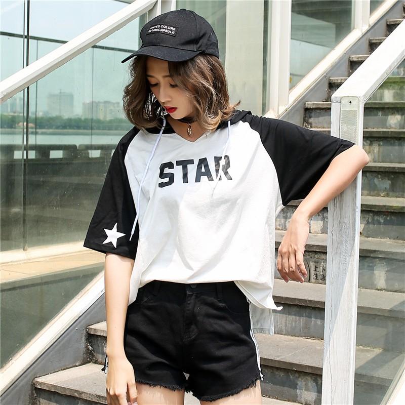 ❤實拍學院風字母短袖連帽T 恤女士休閒大碼寬鬆衛衣正韓上衣