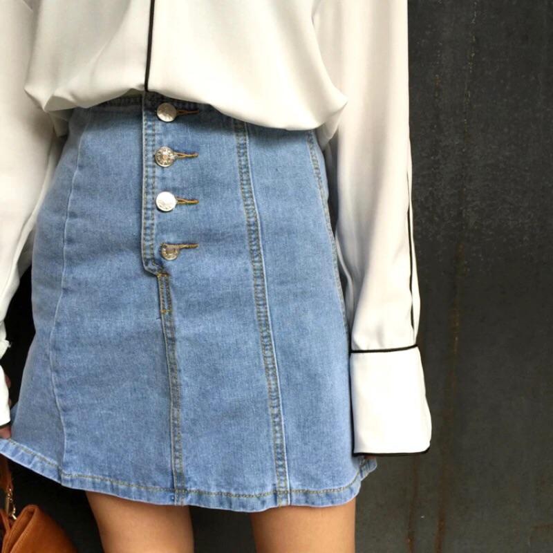 韓國復古高腰鈕扣牛仔裙韓國訂單學院風復古高腰鈕扣牛仔半身裙短裙女韓風A70