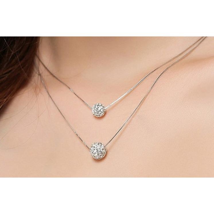 S925 純銀項鏈女韓國鎖骨水晶吊墜轉運珠球形飾品滿鑽雙層套鏈