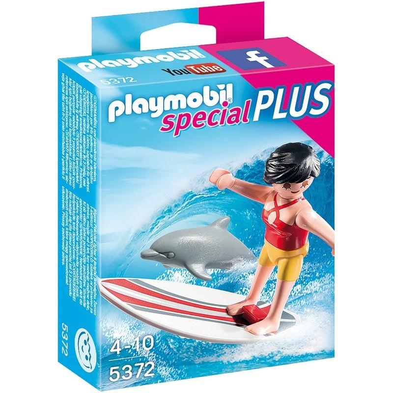 德國2015 playmobil 5372 衝浪女孩與海豚摩比sp 公仔模型玩具動物衝浪板