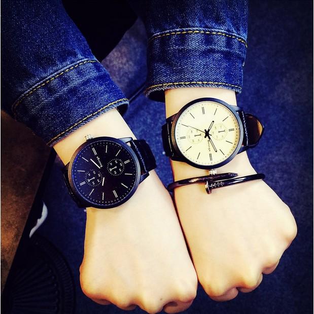 韓都巴黎雨正 學生皮帶男士大盤時裝表商務手錶防水男表概念石英機械腕表