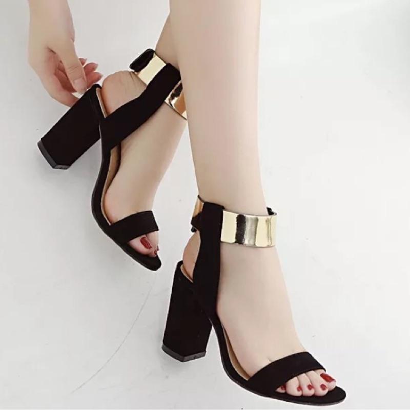 品牌金屬色一字繞腳涼鞋 女鞋羅馬高跟涼鞋