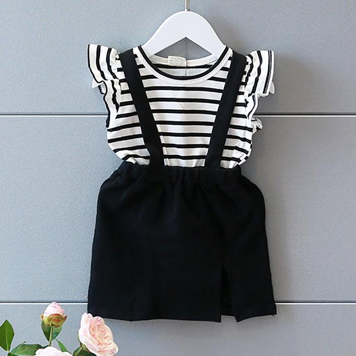 ღ瑪琪朵小舖ღ2016  日系女童雜誌百搭條紋飛袖上衣拼接假兩件黑色吊帶裙連衣裙