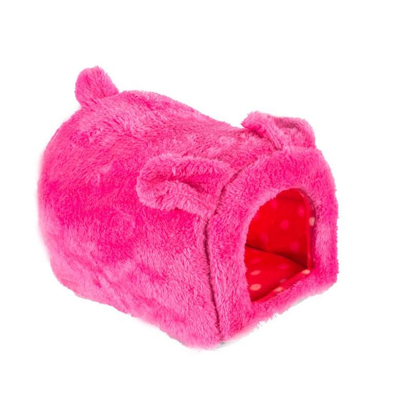 幸福2 次方兔子形狀寵物窩寵物床貓窩狗窩貓床狗床睡墊軟墊小號北極絨–玫紅PT 31769
