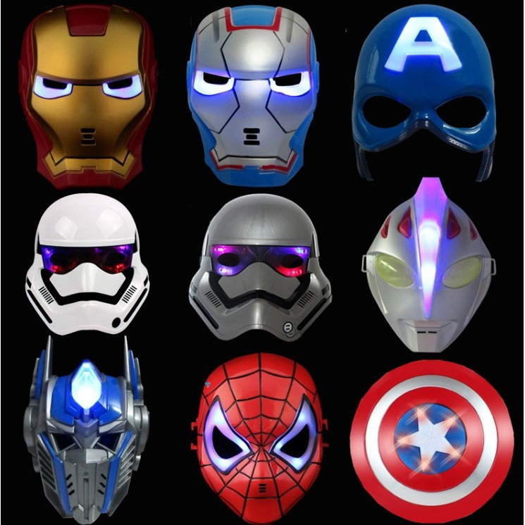 兒童超人百變面具藍色鋼鐵人面具、金色鋼鐵人面具、綠巨人面具、鹹蛋超人面具、雷神面具~D00