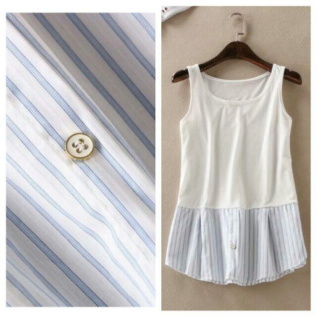 夏棉背心拼接條紋襯衫休閒無袖背心白T 恤