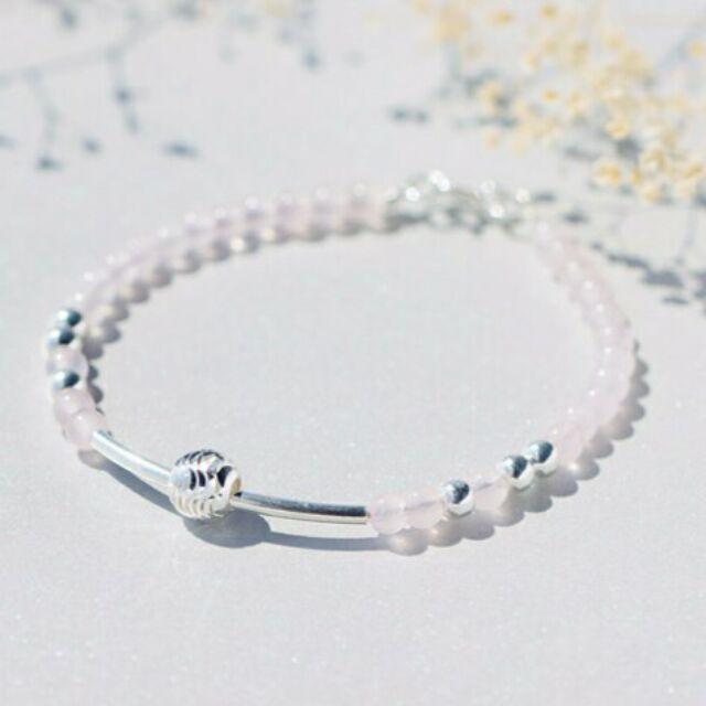 s925 純銀小清新氣質oL ,925 純銀手鍊女甜美天然粉晶手鍊可愛轉運珠氣質粉水晶手鍊