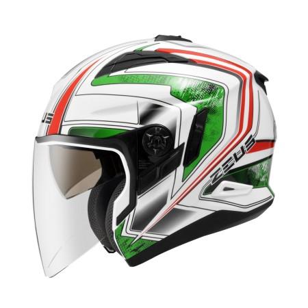 ZEUS ZS 613B 白AJ6 綠~ 內藏式遮陽鏡片機構,操作方便、可保持良好視線~
