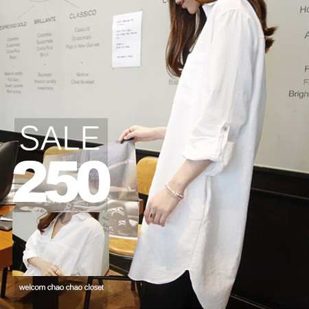 SISI ~L6043 ~ 都會BF 男友風翻領中長版反折袖前短後長雪紡襯衫上衣