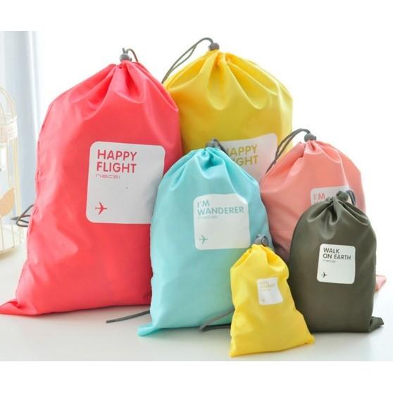 ~愛買舖~ 四件組束口袋幸運袋旅遊防水分類袋收納袋行李袋衣物分類化妝包內褲雜貨