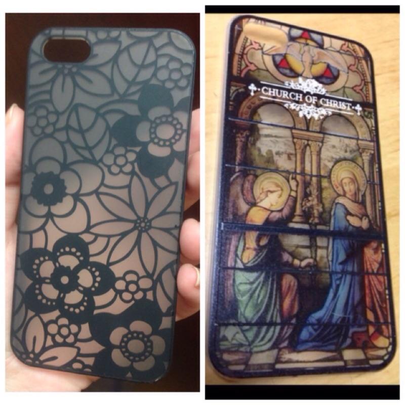 iPhone 5 5S 彩繪玻璃教堂天使彌撒送黑透明花朵圖騰十字架 手機殼硬殼手機套