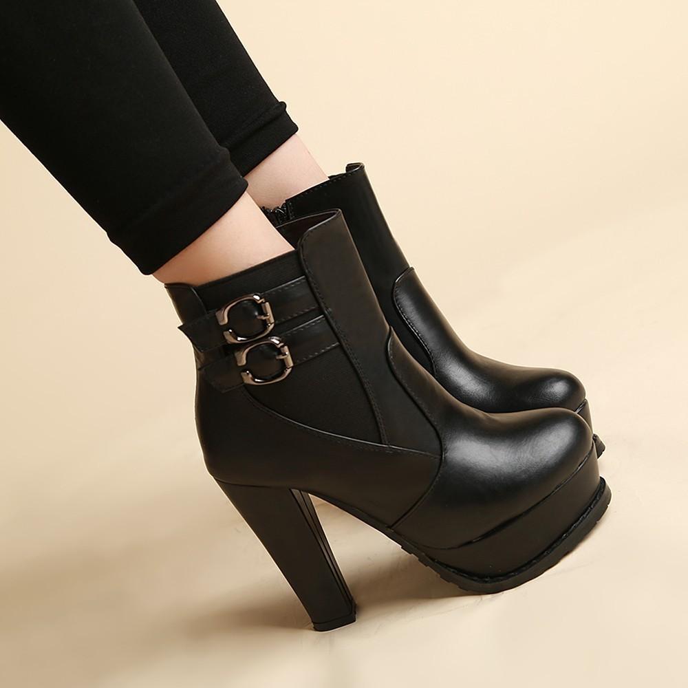 短靴女 單靴粗跟圓頭踝靴 防水臺超高跟靴子黑色白搭馬丁靴 -尖頭-魚嘴-性感 大