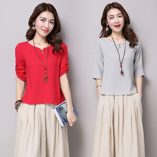 現時 春夏亞麻女裝棉麻上衣七分袖襯衫苧麻純色寬鬆民族風T 恤衫女