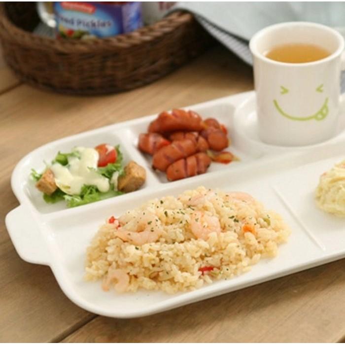日韓 陶瓷分隔盤水果點心盤雙耳長方形分隔盤西餐盤