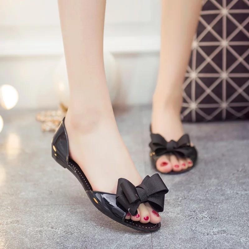 S11 凉鞋女平底百搭果冻鞋软底塑料蝴蝶结鱼嘴鞋韩国
