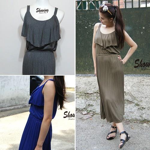 洋裝荷葉收腰百褶壓紋背心洋裝連身裙26211202