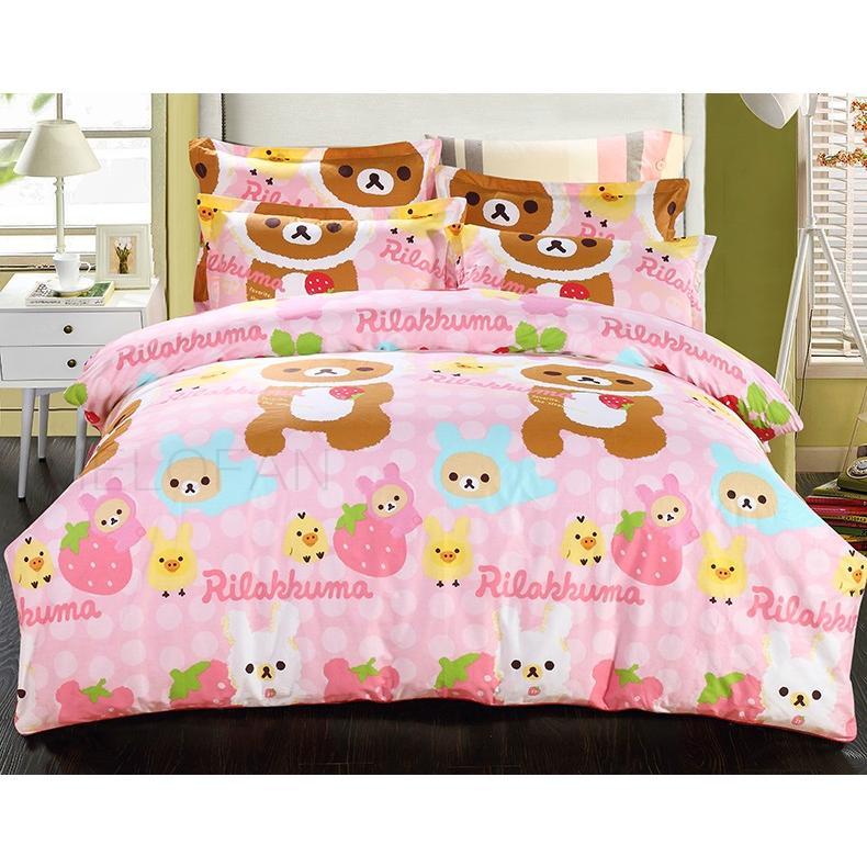 小八 卡通床包淡粉色熊草莓野餐熊純棉四件組單人1500 元雙人1700 元加大1850 元