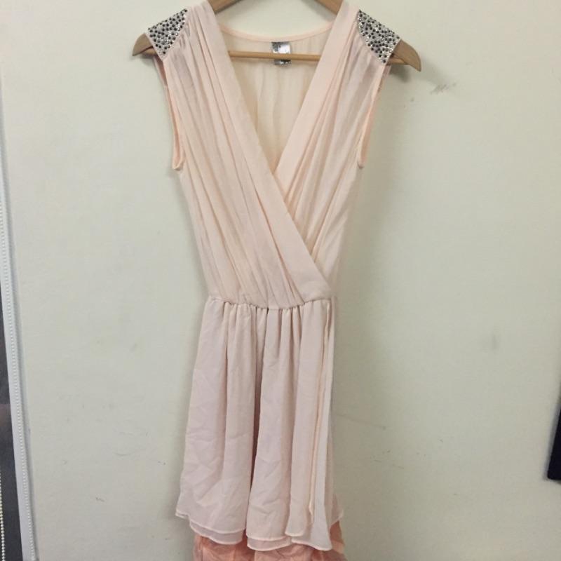 女神 粉紅色雪紡紗肩膀貼鑽復古vintage 百搭氣質性感大V 領 款大開衩韓妞 背心洋裝