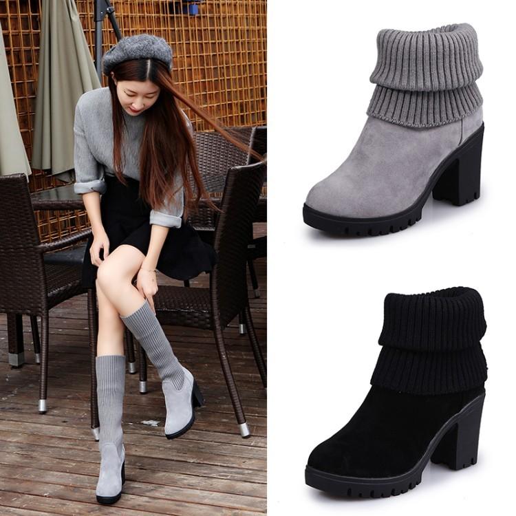 16 磨砂皮圓頭粗跟中筒靴子女中跟棉靴毛線靴子多穿短靴棉靴女