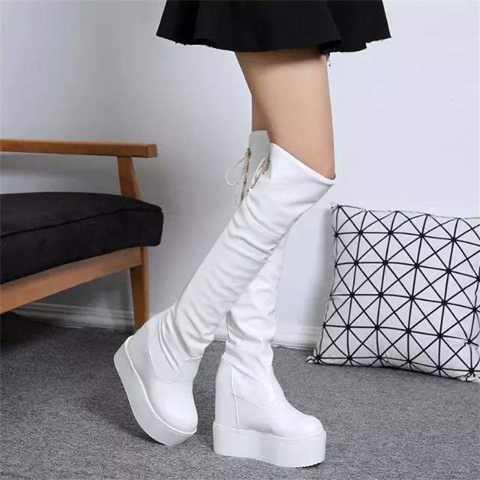 夕陽露 厚底松糕跟長靴女靴子內增高坡跟長筒靴高筒靴瘦腿白色過膝靴