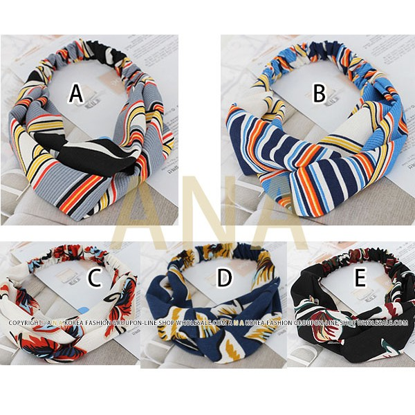 韓國風格雪紡紗質印花交叉髮帶波希米亞風DB25T