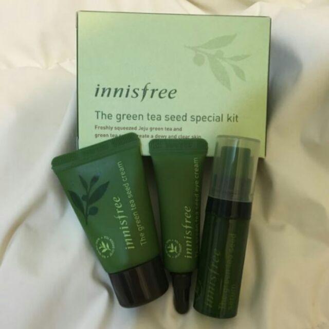 ~~innisfree 綠茶籽護膚體驗三件組 :綠茶籽保濕精華、綠茶籽潤澤保濕霜、綠茶籽潤