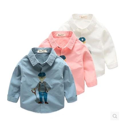 寶寶純棉襯衫男童立領格子長袖襯衣 2016 兒童 上衣潮