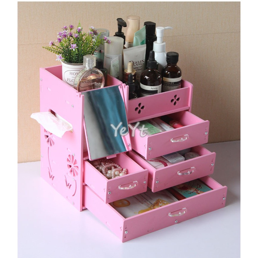 ~Ye Yt ~DIY 5mm 春花4 抽防水加厚板桌面化妝品收納盒收納架 粉色白色