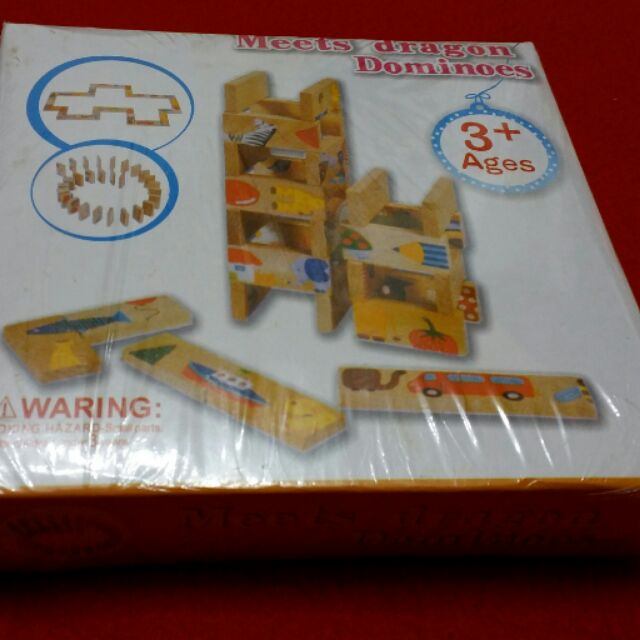 Dominoes 多米諾木製益智接龍動物拼圖骨牌遊戲積木未用新品