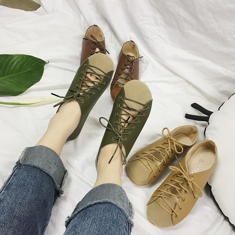2017 新品日系森女復古文藝平底鞋系帶圓頭平跟女單鞋原宿娃娃鞋潮