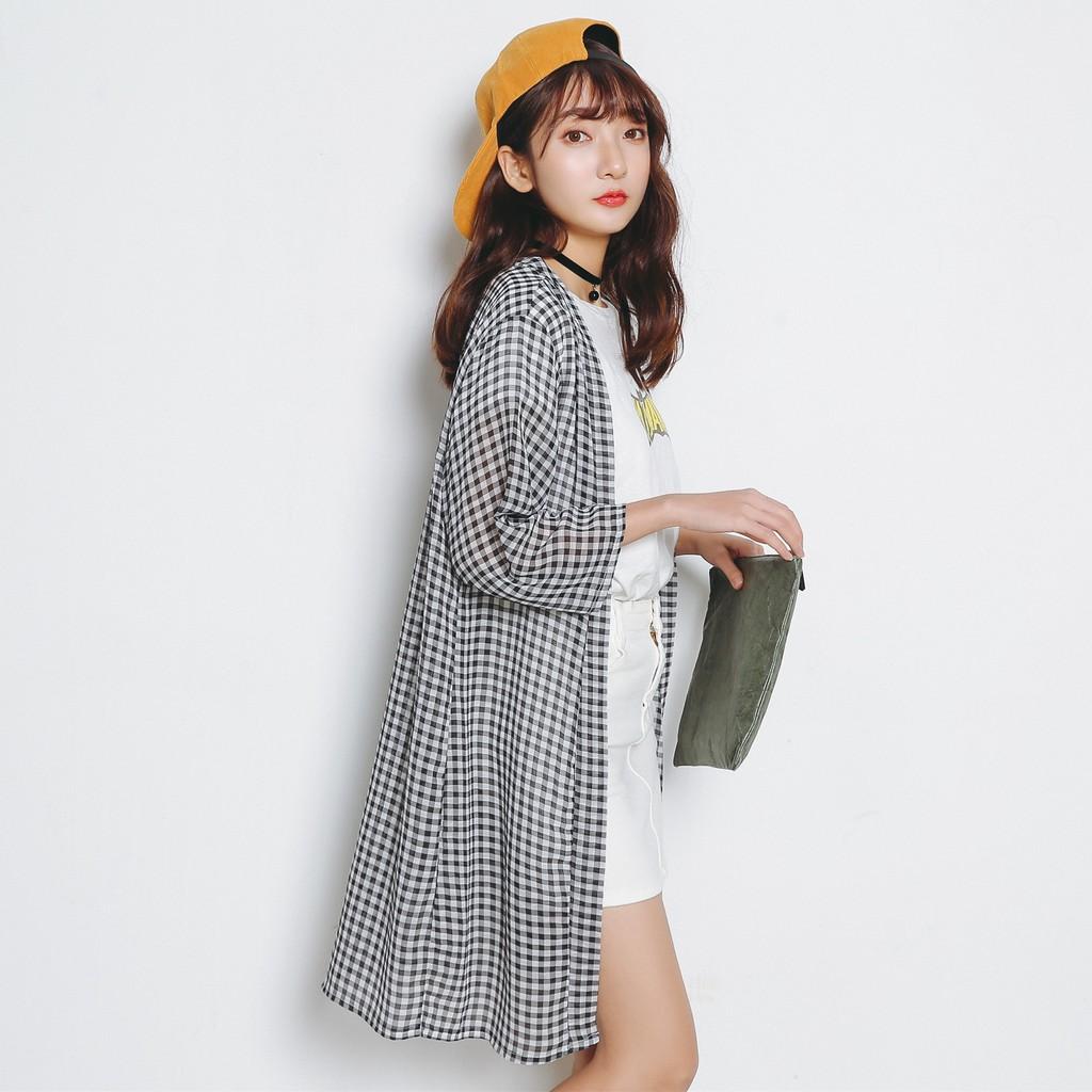 RONGYI 雪紡長版格紋輕薄 罩衫821