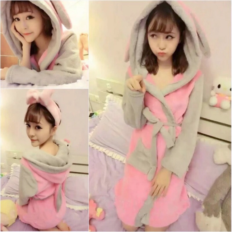 ( ) 珊瑚絨睡袍浴袍❤️女款連帽可愛兔兔睡衣兔耳朵兔兔浴袍長款日系浴衣兔兔睡袍 浴袍珊瑚