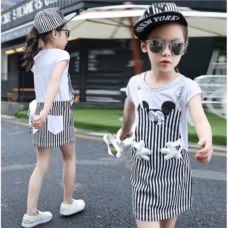 67362 條紋假兩件女童中大童背帶裙