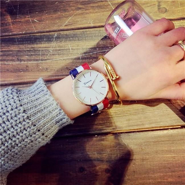 英倫風潮流 簡約帆布帶條紋手錶 復古超薄韓國學生男女情侶