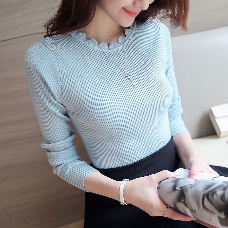 拇指家庭 女裝底衫修身長袖套頭純色米白色粉紅色黑色毛針織衫