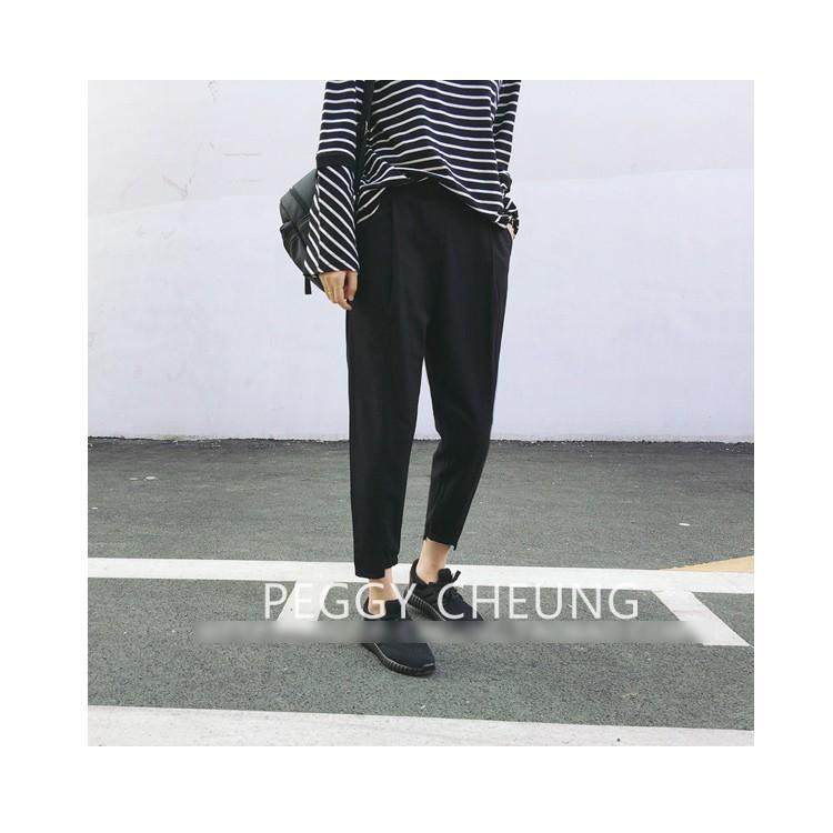 DNA rt ~PC221 ~褲腳收口 款人字紋薄呢韓風立體褲型顯瘦寬鬆休閒百搭哈倫褲
