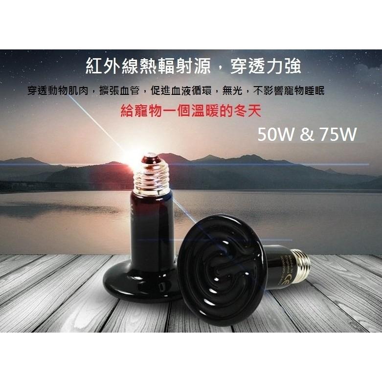 50W 75W 遠紅外線陶瓷保溫燈泡加熱燈泡出口美國兩棲爬蟲陸龜寵物兔貓狗鳥鹵素燈赤外線